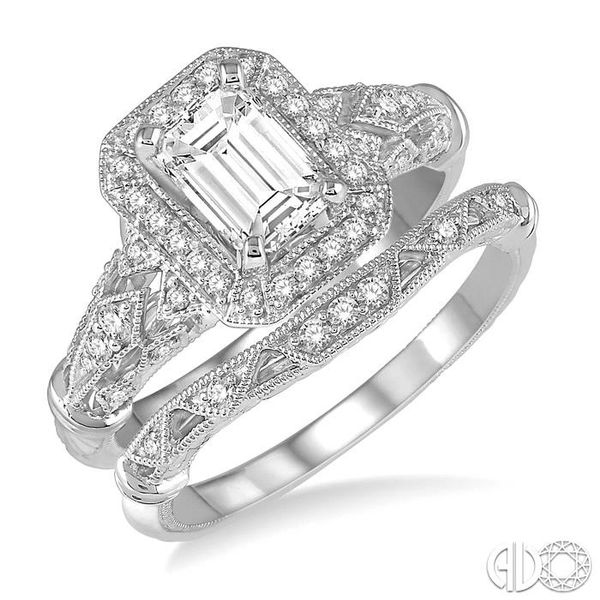 1 1/10 Ctw Diamond Wedding Set with 1 Ctw Octagon Cut Engagement Ring and 1/20 Ctw Wedding Band in 14K White Gold Becker's Jewelers Burlington, IA