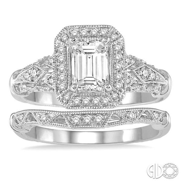1 1/10 Ctw Diamond Wedding Set with 1 Ctw Octagon Cut Engagement Ring and 1/20 Ctw Wedding Band in 14K White Gold Image 2 Becker's Jewelers Burlington, IA