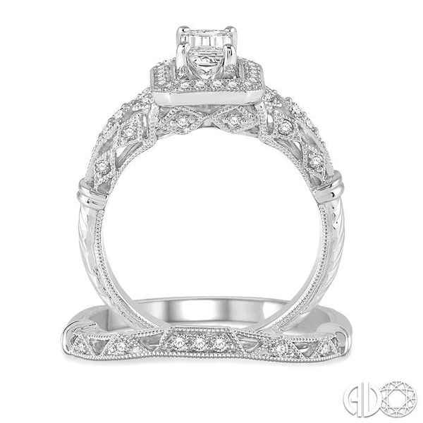 1 1/10 Ctw Diamond Wedding Set with 1 Ctw Octagon Cut Engagement Ring and 1/20 Ctw Wedding Band in 14K White Gold Image 3 Becker's Jewelers Burlington, IA