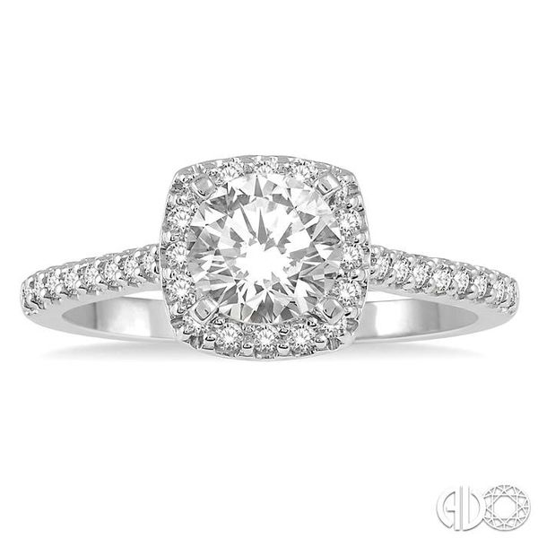 1/3 Ctw Square Shape Diamond Semi-Mount Engagement Ring in 14K White Gold Image 2 Becker's Jewelers Burlington, IA