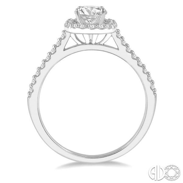 1/3 Ctw Square Shape Diamond Semi-Mount Engagement Ring in 14K White Gold Image 3 Becker's Jewelers Burlington, IA