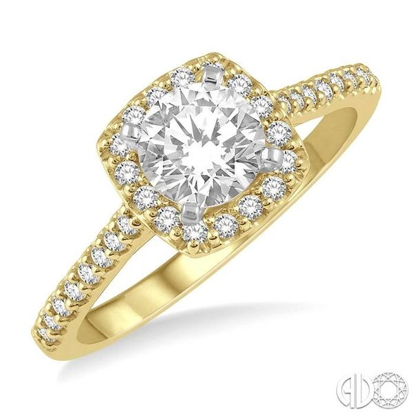 1/3 Ctw Square Shape Diamond Semi-Mount Engagement Ring in 14K Yellow and White Gold Becker's Jewelers Burlington, IA