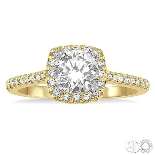 1/3 Ctw Square Shape Diamond Semi-Mount Engagement Ring in 14K Yellow and White Gold Image 2 Becker's Jewelers Burlington, IA