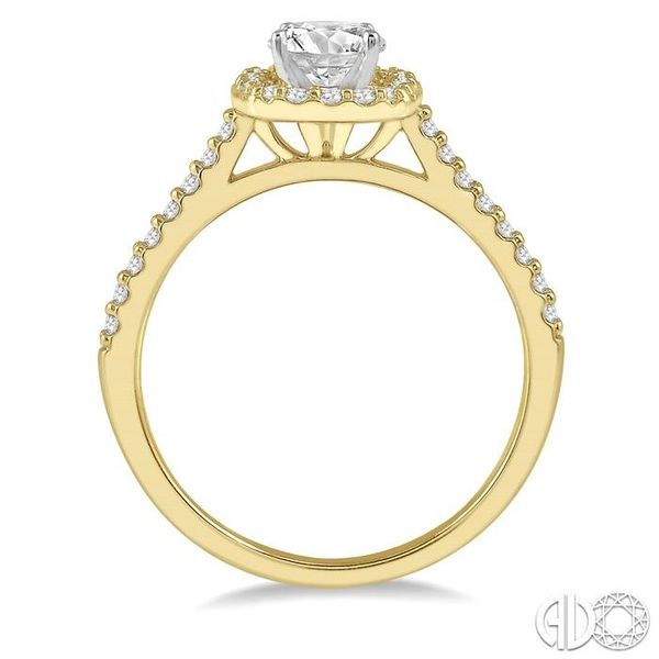 1/3 Ctw Square Shape Diamond Semi-Mount Engagement Ring in 14K Yellow and White Gold Image 3 Becker's Jewelers Burlington, IA