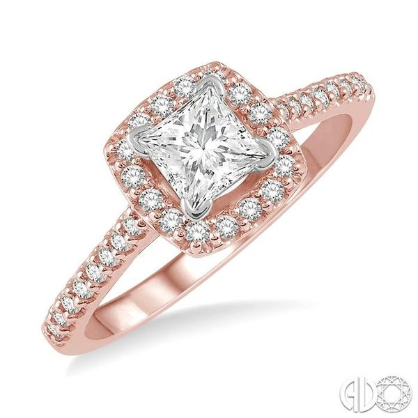 1/4 Ctw Square Shape Diamond Semi-Mount Engagement Ring in 14K Rose and White Gold Becker's Jewelers Burlington, IA
