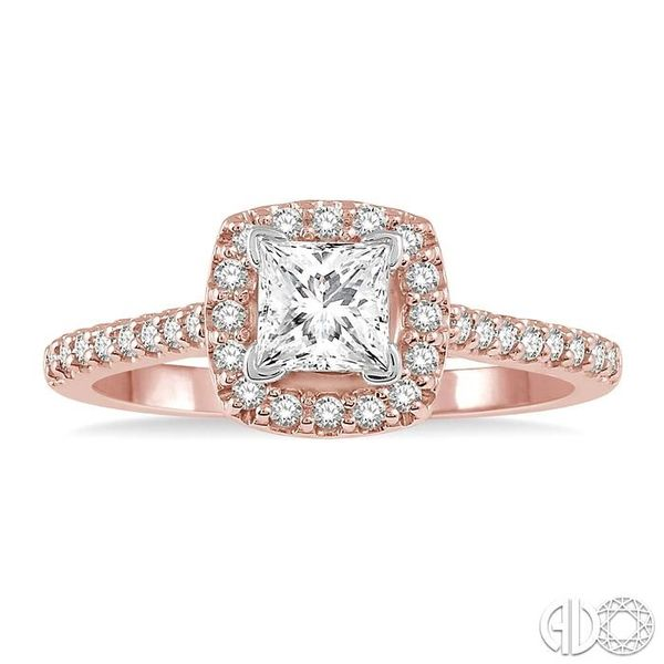1/4 Ctw Square Shape Diamond Semi-Mount Engagement Ring in 14K Rose and White Gold Image 2 Becker's Jewelers Burlington, IA