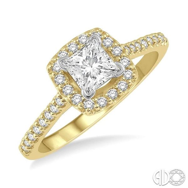 1/4 Ctw Square Shape Diamond Semi-Mount Engagement Ring in 14K Yellow and White Gold Becker's Jewelers Burlington, IA