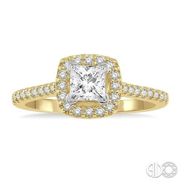 1/4 Ctw Square Shape Diamond Semi-Mount Engagement Ring in 14K Yellow and White Gold Image 2 Becker's Jewelers Burlington, IA