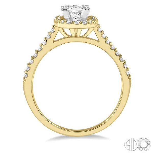 1/4 Ctw Square Shape Diamond Semi-Mount Engagement Ring in 14K Yellow and White Gold Image 3 Becker's Jewelers Burlington, IA