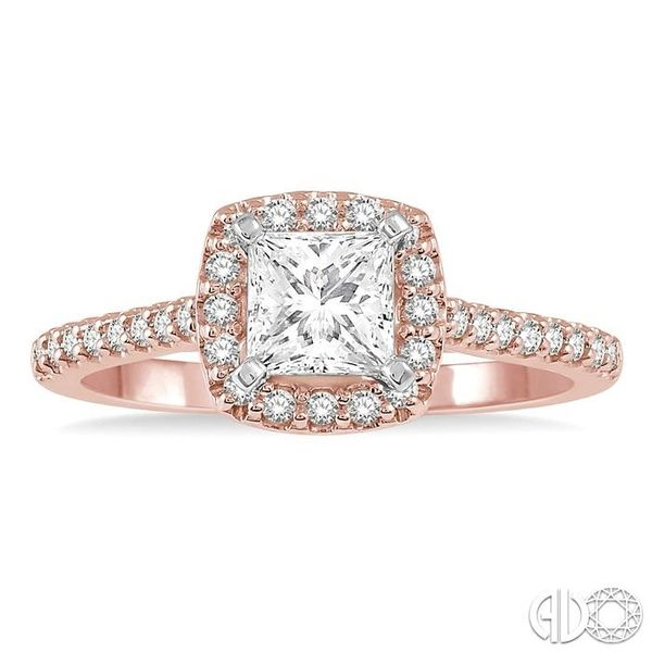 1/6 Ctw Square Shape Diamond Semi-Mount Engagement Ring in 14K Rose and White Gold Image 2 Becker's Jewelers Burlington, IA