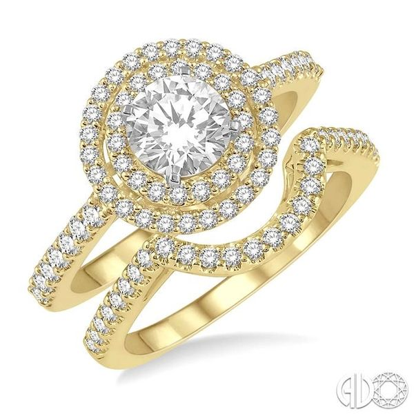 1 1/5 Ctw Diamond Wedding Set in 14K With 1 Ctw Round Shape Engagement Ring in Yellow and White Gold and 1/5 Ctw U-Shape Wedding Becker's Jewelers Burlington, IA