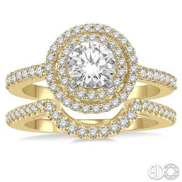 1 1/5 Ctw Diamond Wedding Set in 14K With 1 Ctw Round Shape Engagement Ring in Yellow and White Gold and 1/5 Ctw U-Shape Wedding Image 2 Becker's Jewelers Burlington, IA