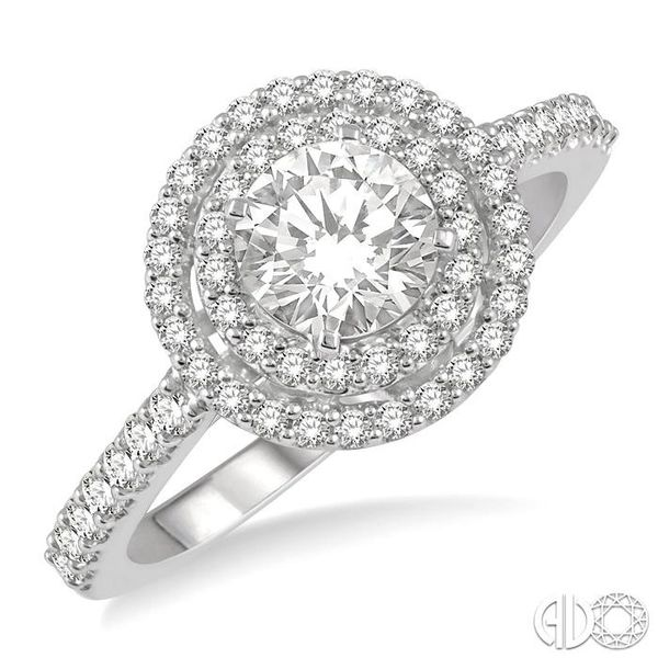 1 Ctw Diamond Ladies Engagement Ring with 1/2 Ct Round Cut Center Stone in 14K White Gold Becker's Jewelers Burlington, IA