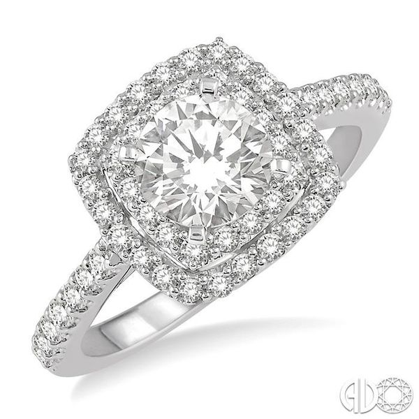 1 Ctw Round Cut Center Stone Diamond Ladies Engagement Ring in 14K White Gold Becker's Jewelers Burlington, IA