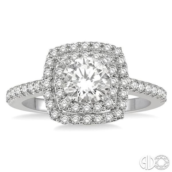 1 Ctw Round Cut Center Stone Diamond Ladies Engagement Ring in 14K White Gold Image 2 Becker's Jewelers Burlington, IA
