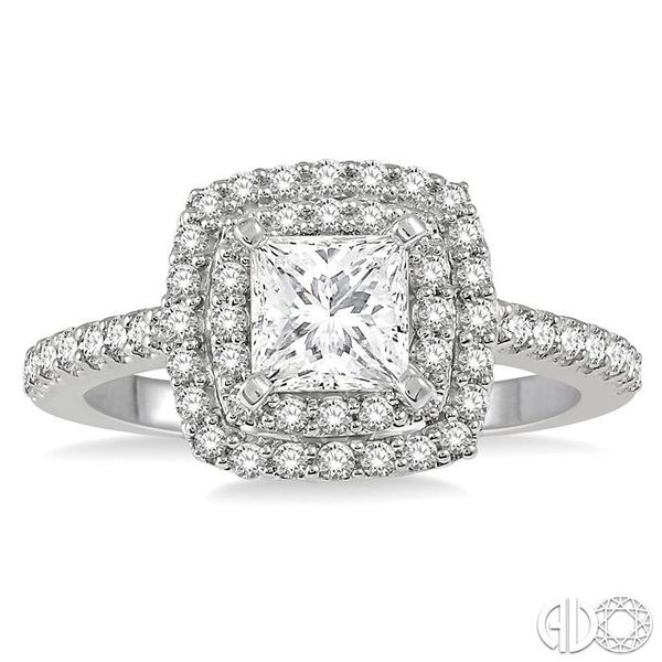 1 Ctw Princess Cut Center Stone Diamond Ladies Engagement Ring in 14K White Gold Image 2 Becker's Jewelers Burlington, IA