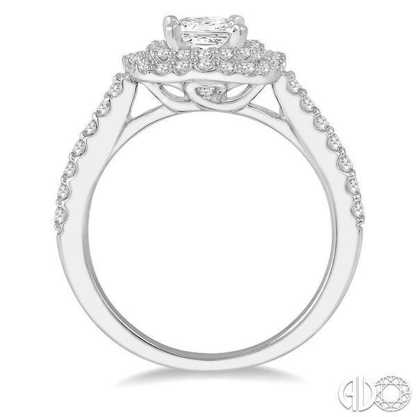 1 Ctw Princess Cut Center Stone Diamond Ladies Engagement Ring in 14K White Gold Image 3 Becker's Jewelers Burlington, IA