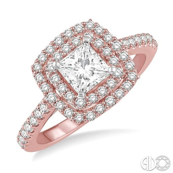 1/2 ct Princess & Round Cut Diamond Ladies Engagement Ring in 14K Rose and White Gold Becker's Jewelers Burlington, IA