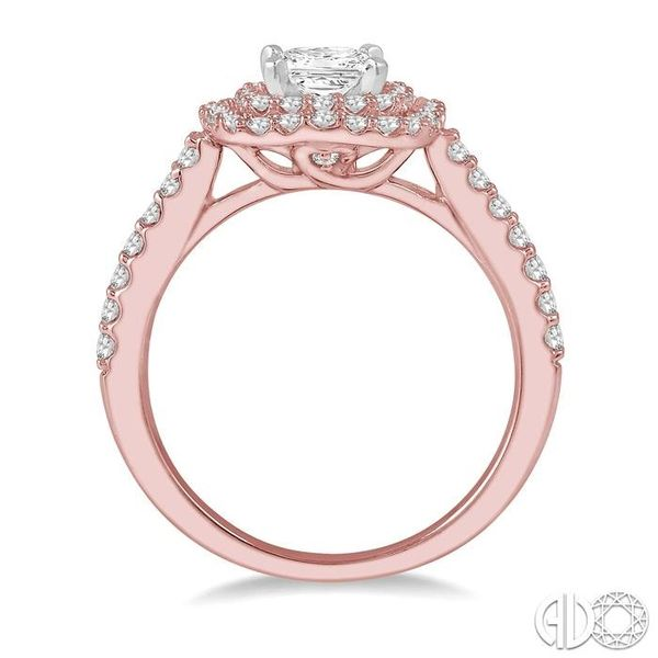 1/2 ct Princess & Round Cut Diamond Ladies Engagement Ring in 14K Rose and White Gold Image 3 Becker's Jewelers Burlington, IA