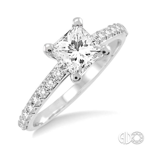1 Ctw Diamond Engagement Ring with 5/8 Ct Princess Cut Center Stone in 14K White Gold Becker's Jewelers Burlington, IA