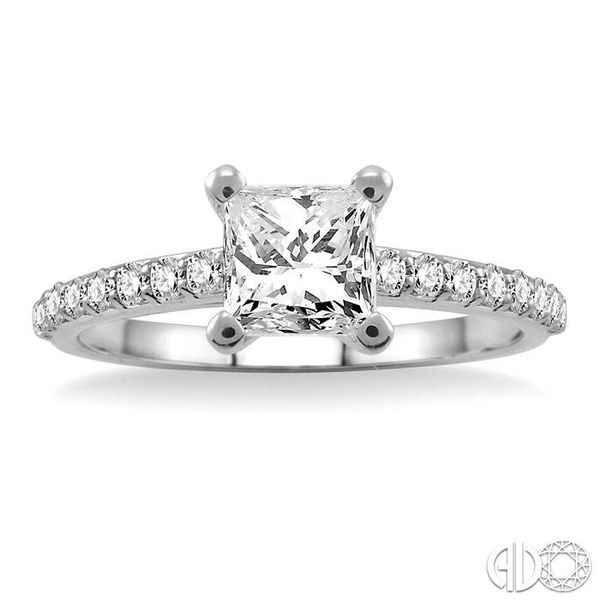 1 Ctw Diamond Engagement Ring with 5/8 Ct Princess Cut Center Stone in 14K White Gold Image 2 Becker's Jewelers Burlington, IA