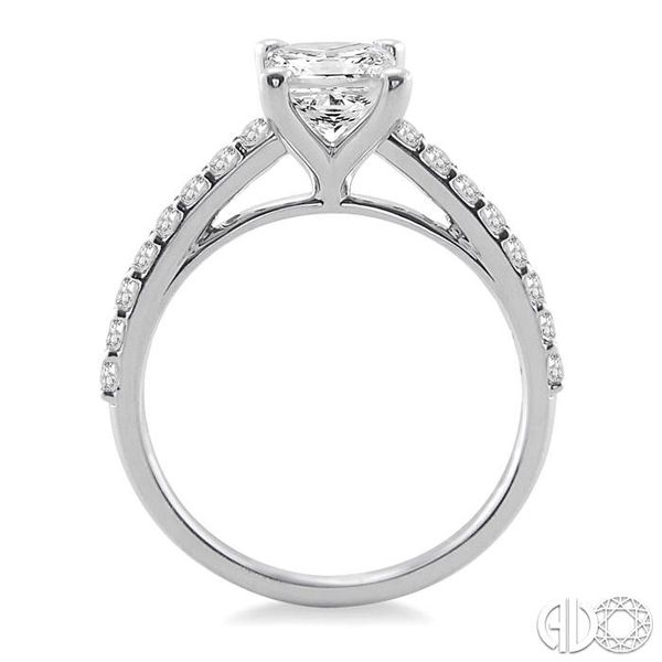1 Ctw Diamond Engagement Ring with 5/8 Ct Princess Cut Center Stone in 14K White Gold Image 3 Becker's Jewelers Burlington, IA