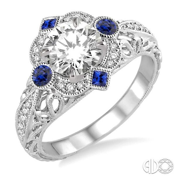 2x2 MM Princess Cut Sapphire, 2.5 MM Round Cut Ruby and 1/6 Ctw Round Cut Diamond Semi-mount Engagement Ring in 14K White Gold Becker's Jewelers Burlington, IA