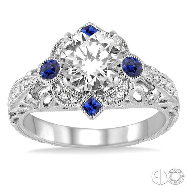 2x2 MM Princess Cut Sapphire, 2.5 MM Round Cut Ruby and 1/6 Ctw Round Cut Diamond Semi-mount Engagement Ring in 14K White Gold Image 2 Becker's Jewelers Burlington, IA
