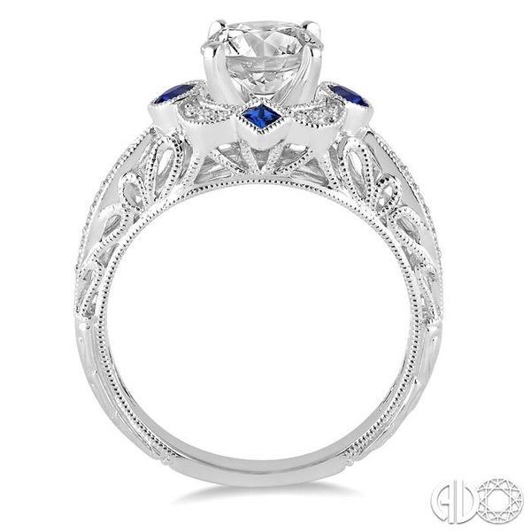 2x2 MM Princess Cut Sapphire, 2.5 MM Round Cut Ruby and 1/6 Ctw Round Cut Diamond Semi-mount Engagement Ring in 14K White Gold Image 3 Becker's Jewelers Burlington, IA