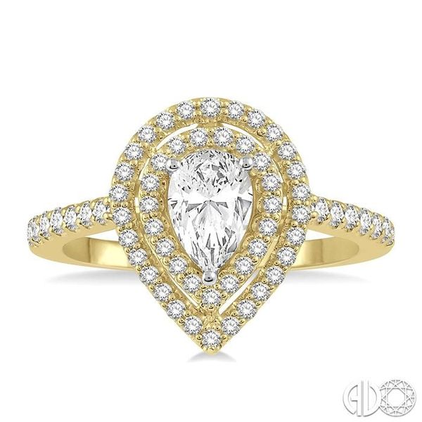 1/2 Ctw Pear Shape Engagement Ring with 1/4 Ct Pear Cut Center Stone in 14K Yellow and White Gold Image 2 Becker's Jewelers Burlington, IA