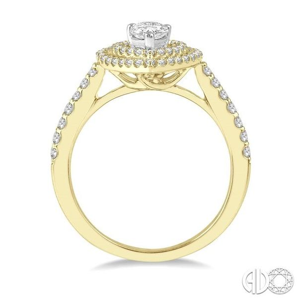 1/2 Ctw Pear Shape Engagement Ring with 1/4 Ct Pear Cut Center Stone in 14K Yellow and White Gold Image 3 Becker's Jewelers Burlington, IA