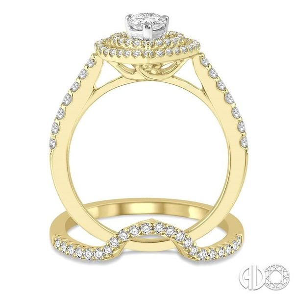 5/8 Ctw Diamond Wedding Set in 14K With 1/2 Ctw Pear Shape Engagement Ring in Yellow and White Gold & 1/8 Ctw U-Cut Center Weddi Image 3 Becker's Jewelers Burlington, IA