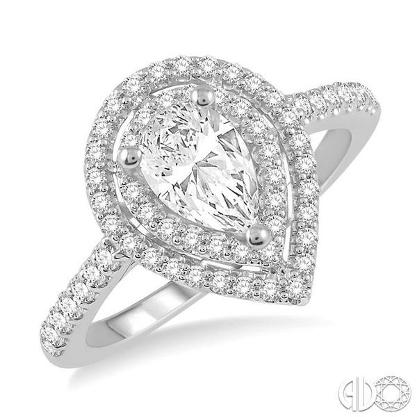 1/4 Ctw Pear Shape Semi-Mount Round Cut Diamond Engagement Ring in 14K White Gold Becker's Jewelers Burlington, IA