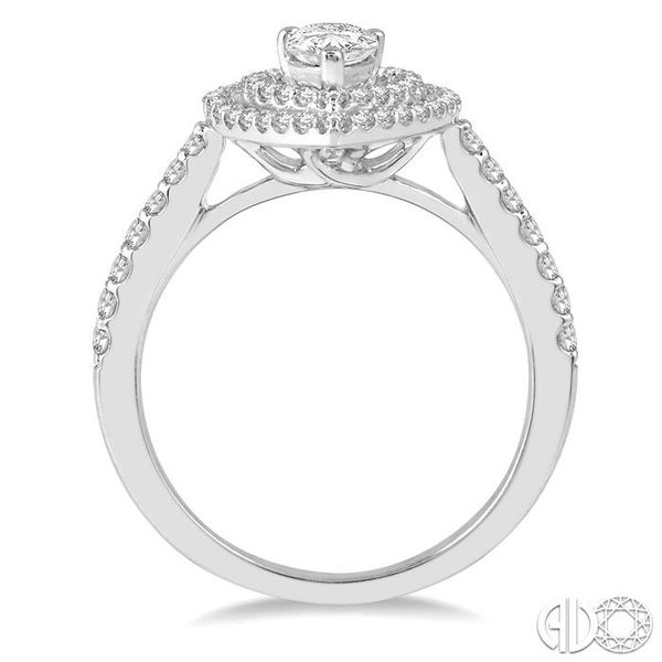 1/4 Ctw Pear Shape Semi-Mount Round Cut Diamond Engagement Ring in 14K White Gold Image 3 Becker's Jewelers Burlington, IA