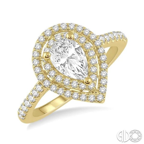 1/4 Ctw Pear Shape Semi-Mount Round Cut Diamond Engagement Ring in 14K Yellow Gold Becker's Jewelers Burlington, IA