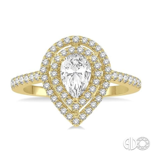 1/4 Ctw Pear Shape Semi-Mount Round Cut Diamond Engagement Ring in 14K Yellow Gold Image 2 Becker's Jewelers Burlington, IA