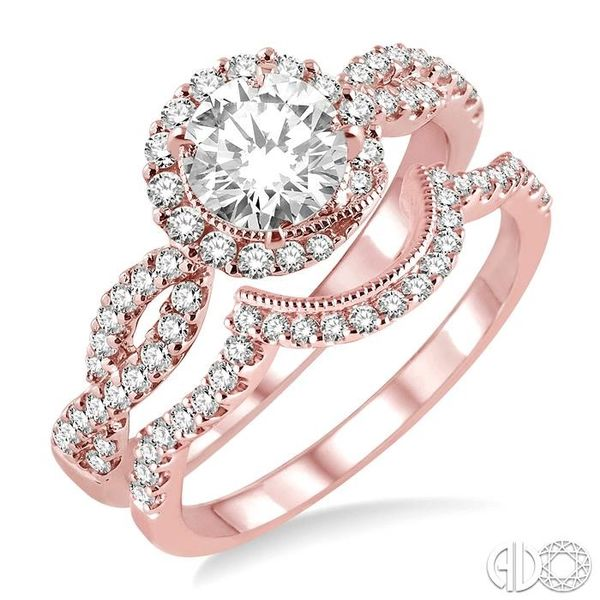 3/4 Ctw Diamond Wedding Set with 5/8 Ctw Round Cut Engagement Ring and 1/6 Ctw Wedding Band in 14K Rose Gold Becker's Jewelers Burlington, IA