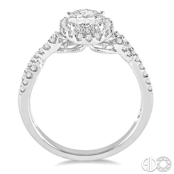 1/4 ctw Twisted Shank Oval Shape Semi-Mount Round Cut Diamond Engagement Ring in 14K White Gold Image 3 Becker's Jewelers Burlington, IA