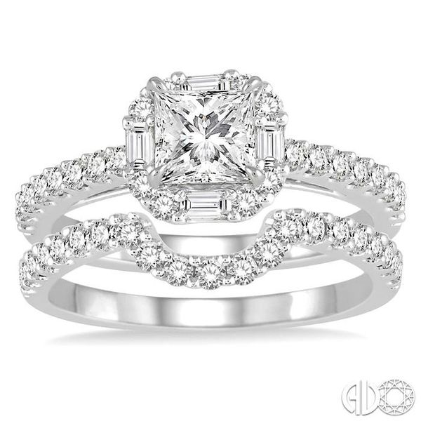 1 1/2 Ctw Diamond Wedding Set with 1 1/5 Ctw Princess Cut Engagement Ring and 1/3 Ctw Wedding Band in 14K White Gold Image 2 Becker's Jewelers Burlington, IA