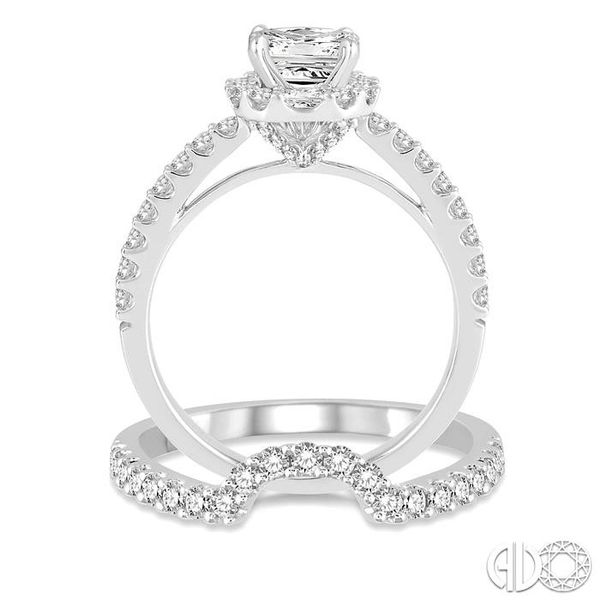1 1/2 Ctw Diamond Wedding Set with 1 1/5 Ctw Princess Cut Engagement Ring and 1/3 Ctw Wedding Band in 14K White Gold Image 3 Becker's Jewelers Burlington, IA