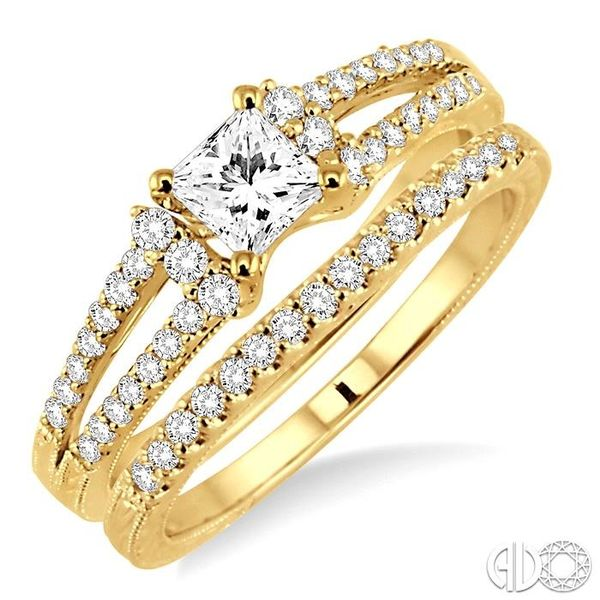 3/4 Ctw Diamond Wedding Set with 5/8 Ctw Princess Cut Engagement Ring and 1/6 Ctw Wedding Band in 14K Yellow Gold Becker's Jewelers Burlington, IA
