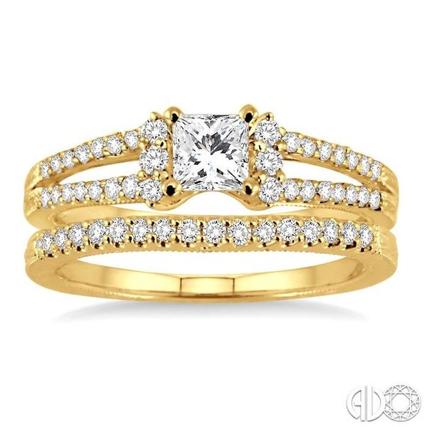3/4 Ctw Diamond Wedding Set with 5/8 Ctw Princess Cut Engagement Ring and 1/6 Ctw Wedding Band in 14K Yellow Gold Image 2 Becker's Jewelers Burlington, IA