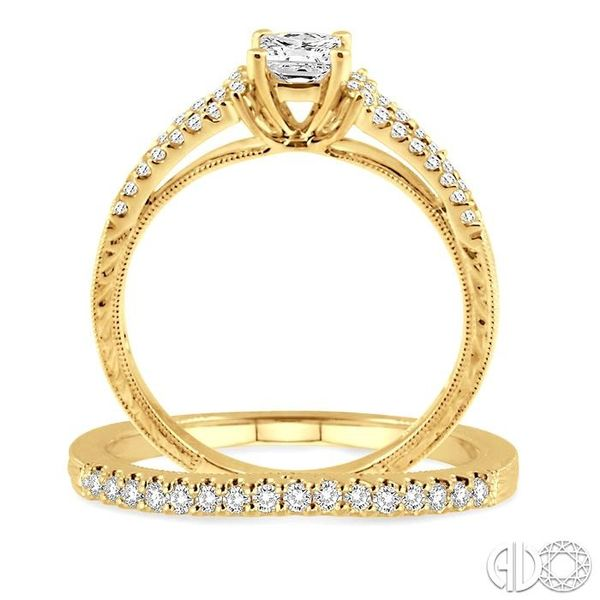 3/4 Ctw Diamond Wedding Set with 5/8 Ctw Princess Cut Engagement Ring and 1/6 Ctw Wedding Band in 14K Yellow Gold Image 3 Becker's Jewelers Burlington, IA
