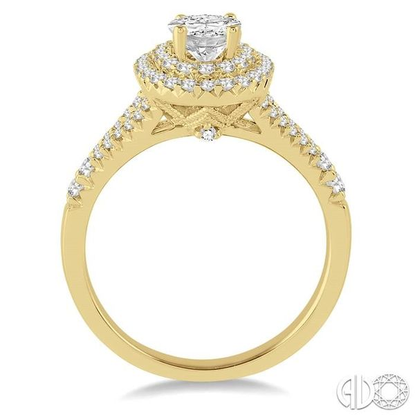 1 Ctw Diamond Engagement Ring with 1/2 Ct Oval Cut Center Stone in 14K Yellow Gold Image 3 Becker's Jewelers Burlington, IA