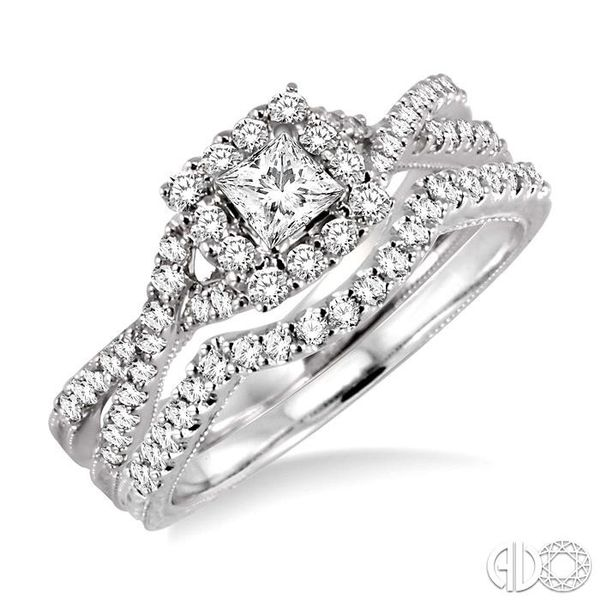 3/4 Ctw Diamond Wedding set with 5/8 Ctw Princess Cut Engagement Ring and 1/6 Ctw Wedding Band in 14K White Gold Becker's Jewelers Burlington, IA
