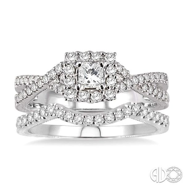 3/4 Ctw Diamond Wedding set with 5/8 Ctw Princess Cut Engagement Ring and 1/6 Ctw Wedding Band in 14K White Gold Image 2 Becker's Jewelers Burlington, IA