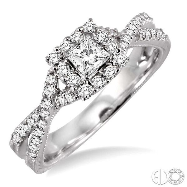 5/8 Ctw Diamond Engagement Ring with 1/5 Ct Princess Cut Center Stone in 14K White Gold Becker's Jewelers Burlington, IA