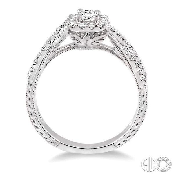 5/8 Ctw Diamond Engagement Ring with 1/5 Ct Princess Cut Center Stone in 14K White Gold Image 3 Becker's Jewelers Burlington, IA