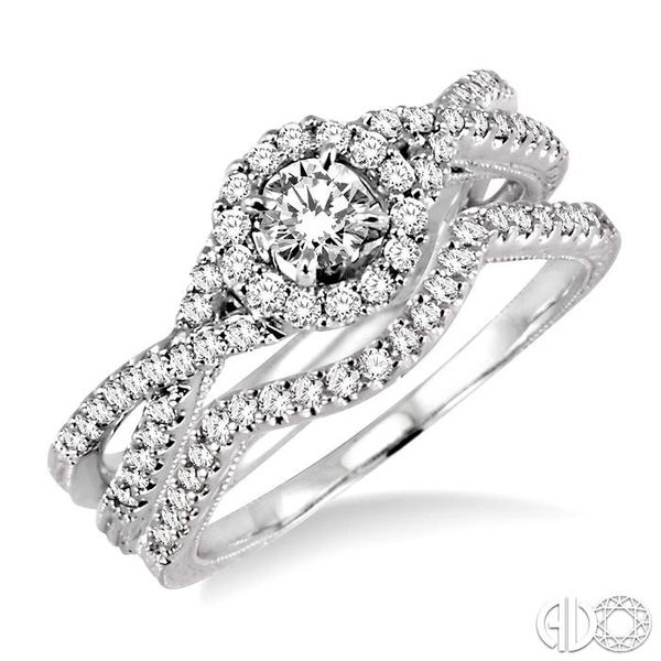 3/4 Ctw Diamond Wedding Set with 1/2 Ctw Round Cut Engagement Ring and 1/6 Ctw Wedding Band in 14K White Gold Becker's Jewelers Burlington, IA