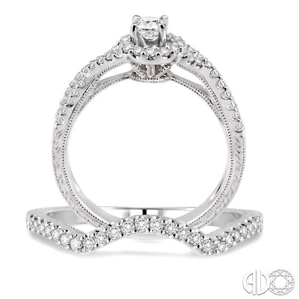 3/4 Ctw Diamond Wedding Set with 1/2 Ctw Round Cut Engagement Ring and 1/6 Ctw Wedding Band in 14K White Gold Image 3 Becker's Jewelers Burlington, IA